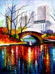 Central Park Bridge - New York by Leonid Afremov