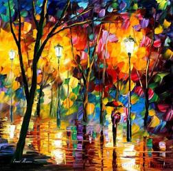 NIGHT PARK by Leonid Afremov by Leonidafremov