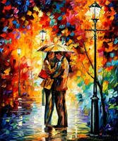 Kiss Under The Rain by Leonid Afremov by Leonidafremov