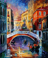 Canal in Venice by Leonid Afremov by Leonidafremov