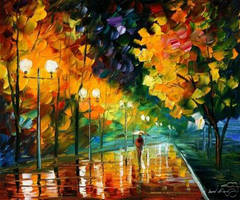 NIGHT PARK by Leonid Afremov by Leonidafremov