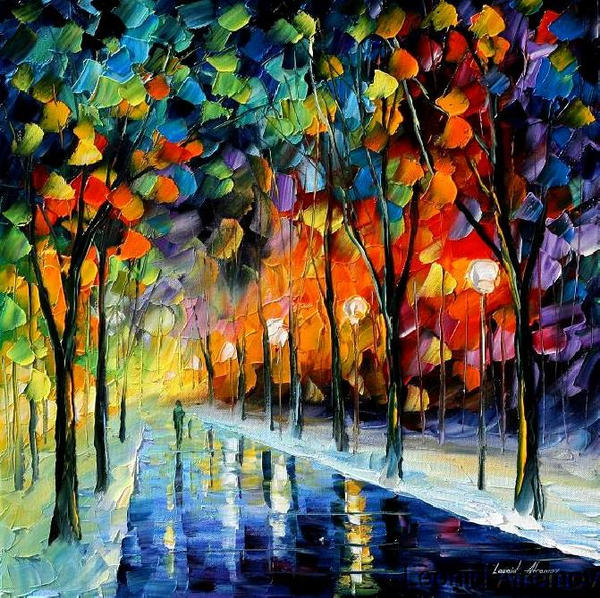 First Snow by Leonid Afremov by Leonidafremov