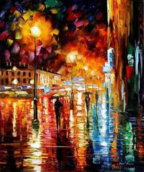 RAIN NIGHT CITY by Leonid Afremov by Leonidafremov