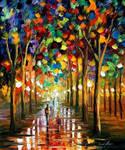 Afremov RAIN PARK Original Art