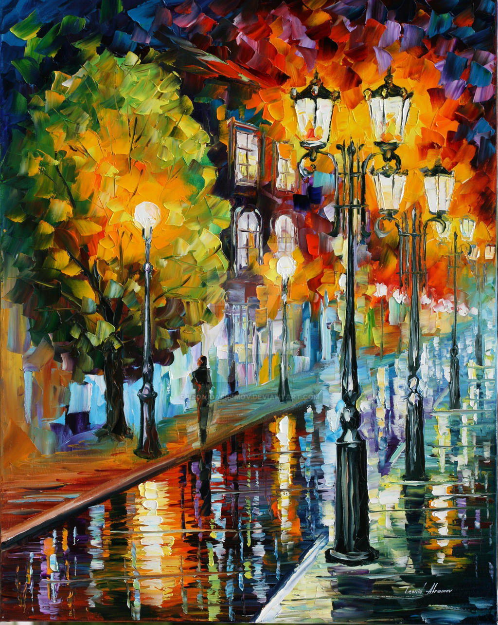 After a night rain by Leonid Afremov by Leonidafremov