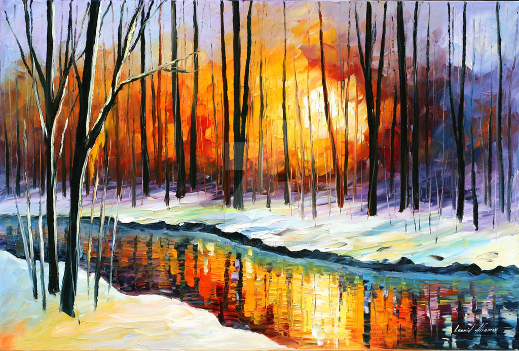 Winter Sun by Leonid Afremov by Leonidafremov