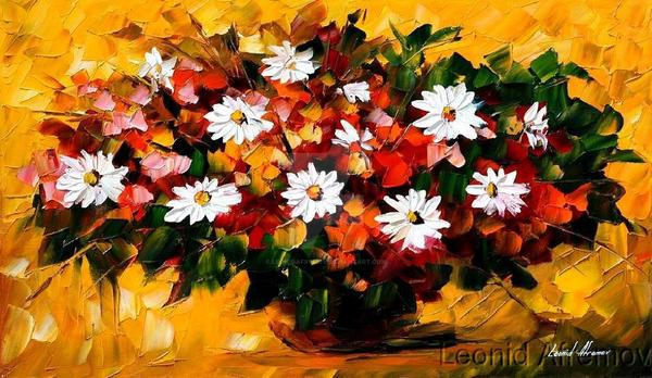 Flowers by Leonid Afremov by Leonidafremov