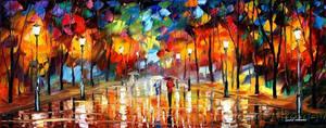 Rain by Leonid Afremov by Leonidafremov