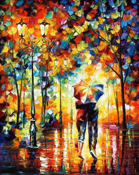 Couple Under One Umbrella by Leonid Afremov