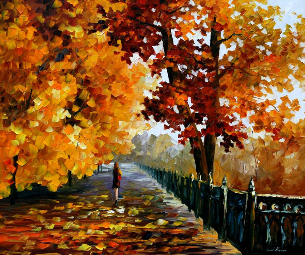Blues Of Falling Leaves by Leonid Afremov by Leonidafremov