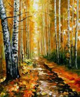 Autumn Birches by Leonid Afremov by Leonidafremov