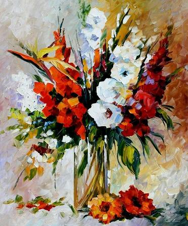 Flowers oil painting on canvas by leonid afremov by for How to oil paint flowers