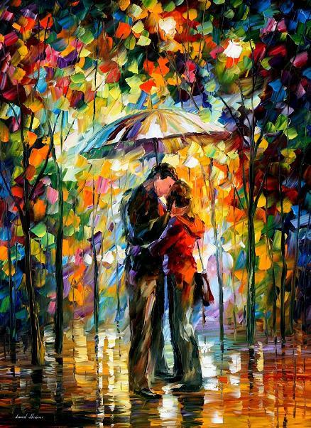Kiss oil painting on canvas by Leonid Afremov by Leonidafremov