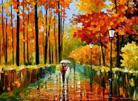 An autumn rain oil painting on canvas by L.Afremov by Leonidafremov
