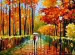 An autumn rain oil painting on canvas by L.Afremov