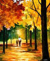Stroll in the forest by L.Afremov by Leonidafremov