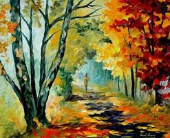 Two birches by Leonid Afremov by Leonidafremov
