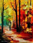Fall alley by Leonid Afremov