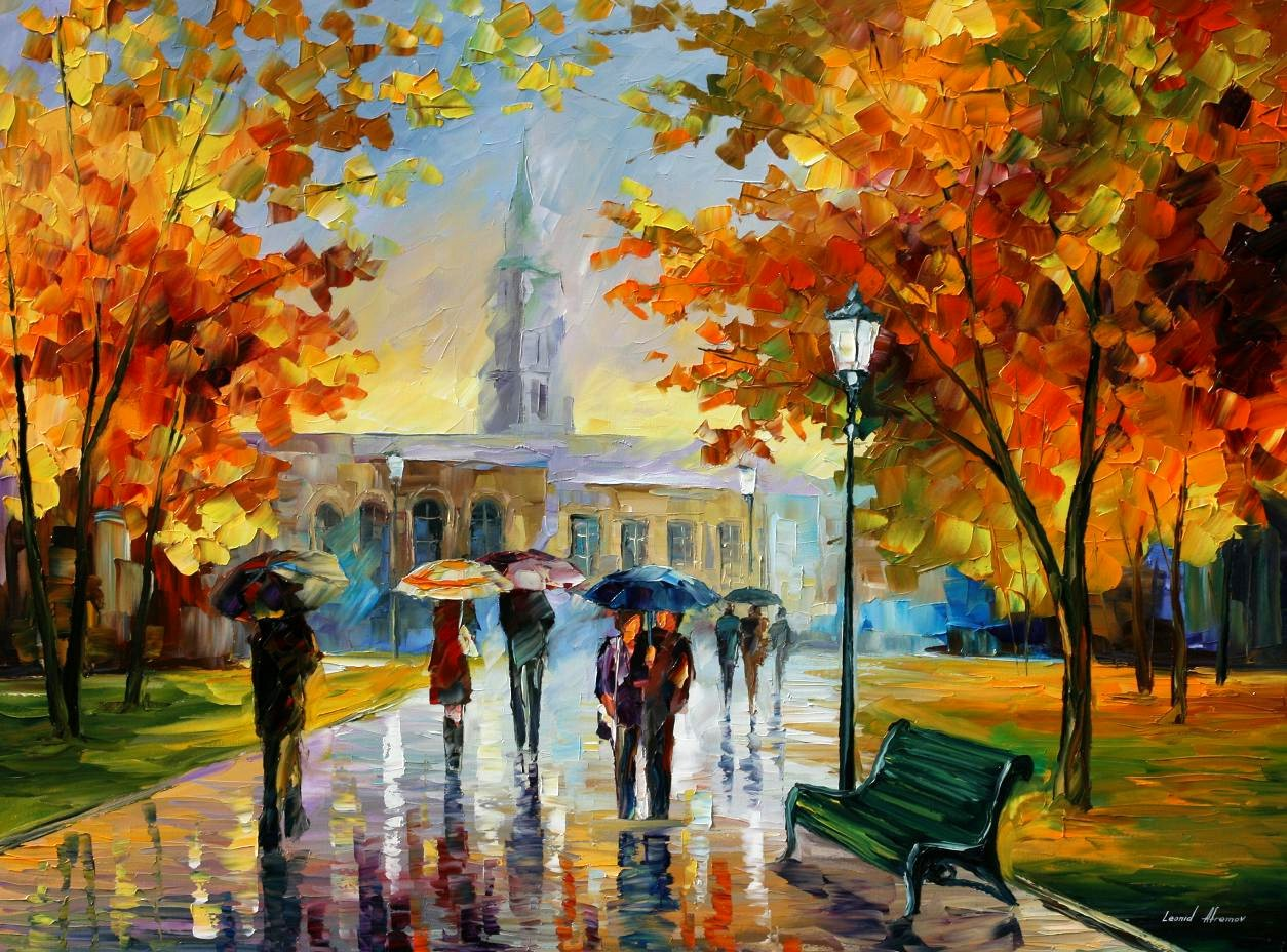 A Stroll In October Park by Leonid Afremov