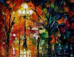 Red umbrella by Leonid Afremov