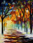 Winter alley by Leonid Afremov