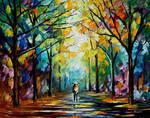 Golden alley by Leonid Afremov