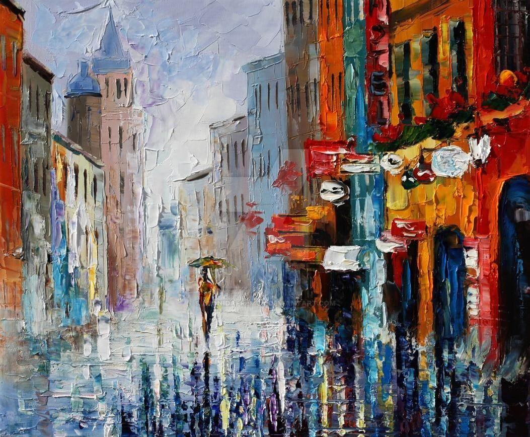 Summer Downpour by Leonid Afremov by Leonidafremov