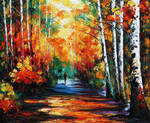 Forest of birches by Leonid Afremov