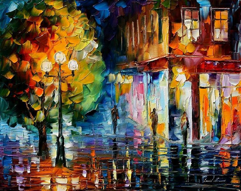 City by leonid afremov by leonidafremov on deviantart for Abstract impressionism definition