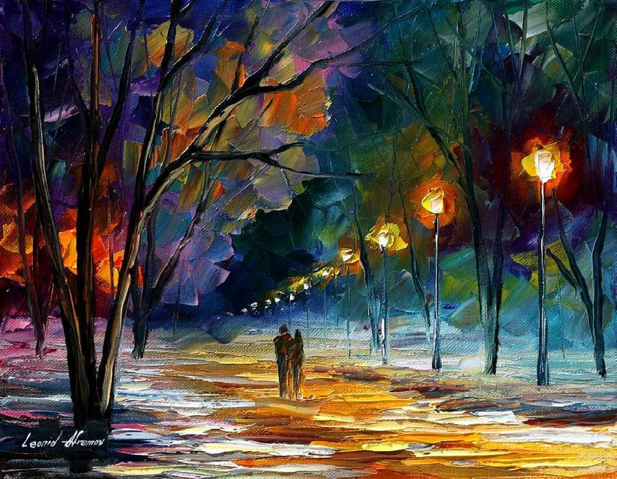 Winter night by Leonid Afremov by Leonidafremov on DeviantArt