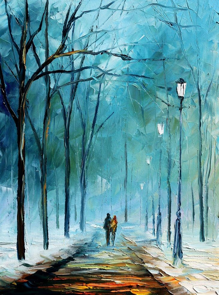 Foggy stroll by Leonid Afremov by Leonidafremov