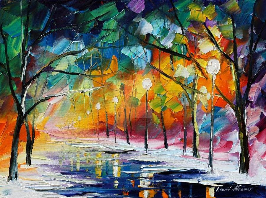 Freezing trees by Leonid Afremov by Leonidafremov