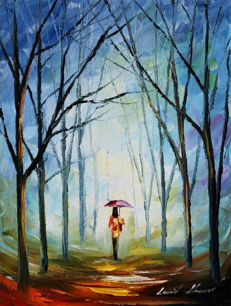 Pink umbrella oil painting on canvas by L.Afremov by Leonidafremov