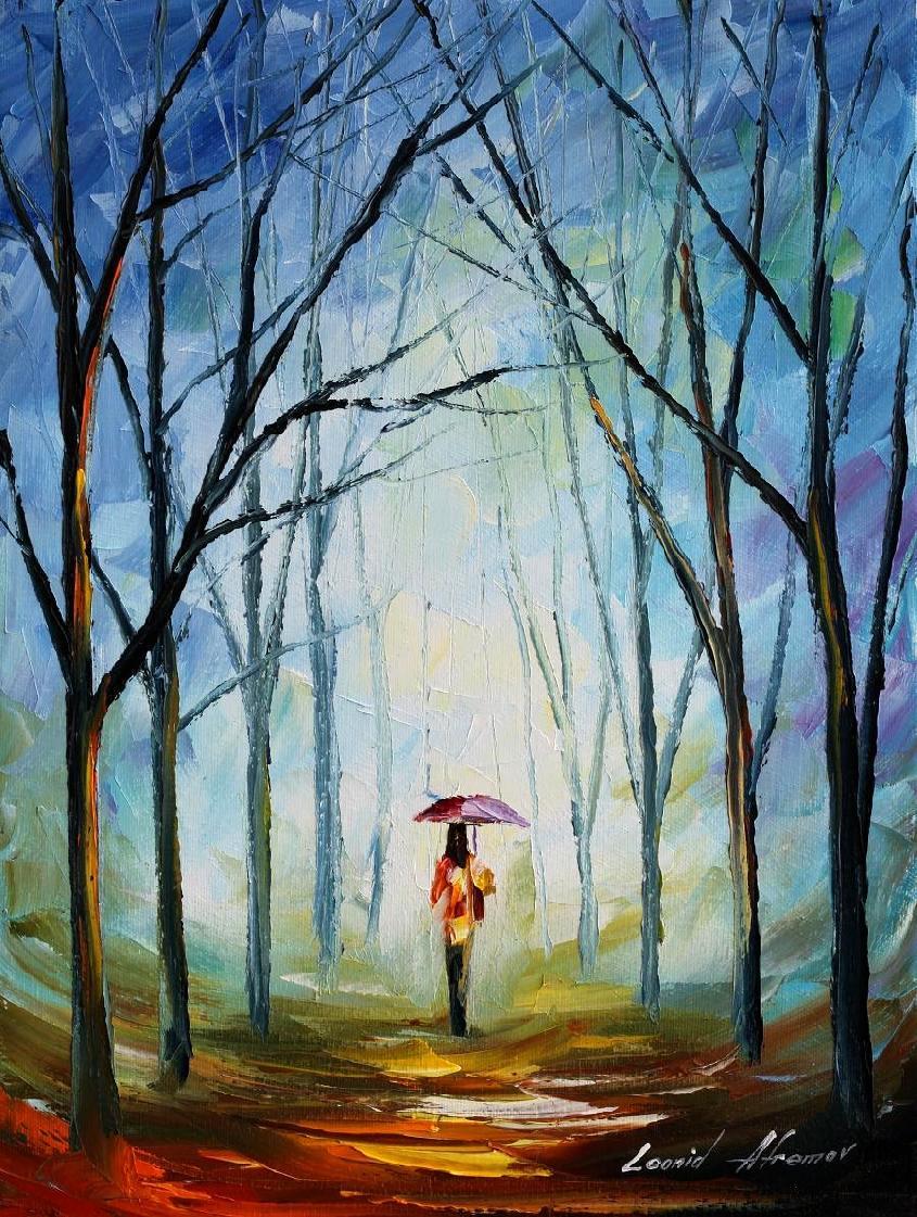 Pink umbrella oil painting on canvas by L.Afremov by Leonidafremov