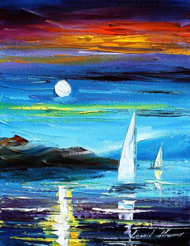 Blue moon 2 oil painting on canvas by L.Afremov by Leonidafremov