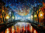 Misty Bridge St. Petersburg by Leonid Afremov