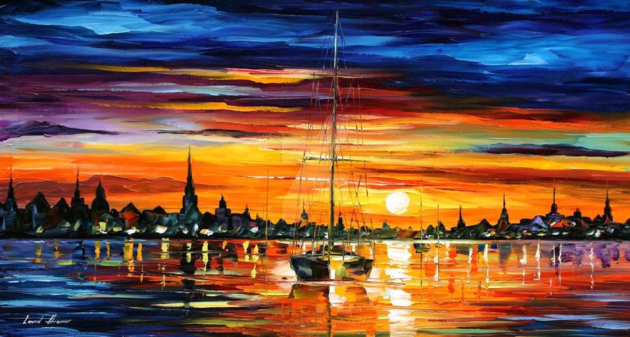 Calm sunset by Leonid Afremov