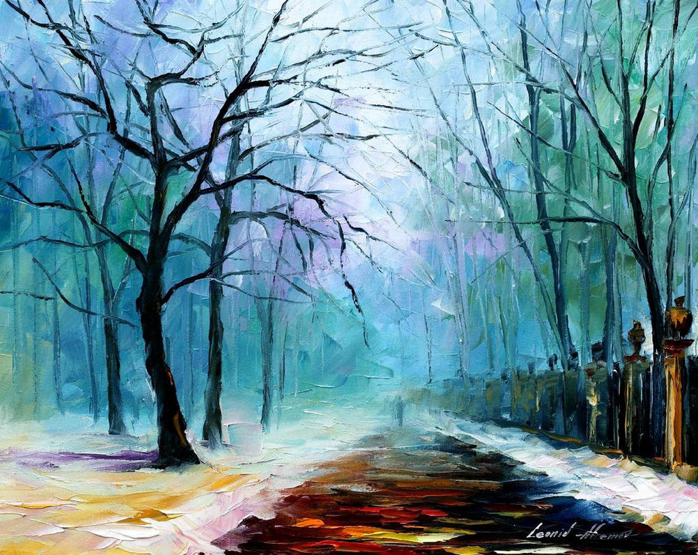 fe2f918bb05 Winter fog by Leonid Afremov by Leonidafremov on DeviantArt