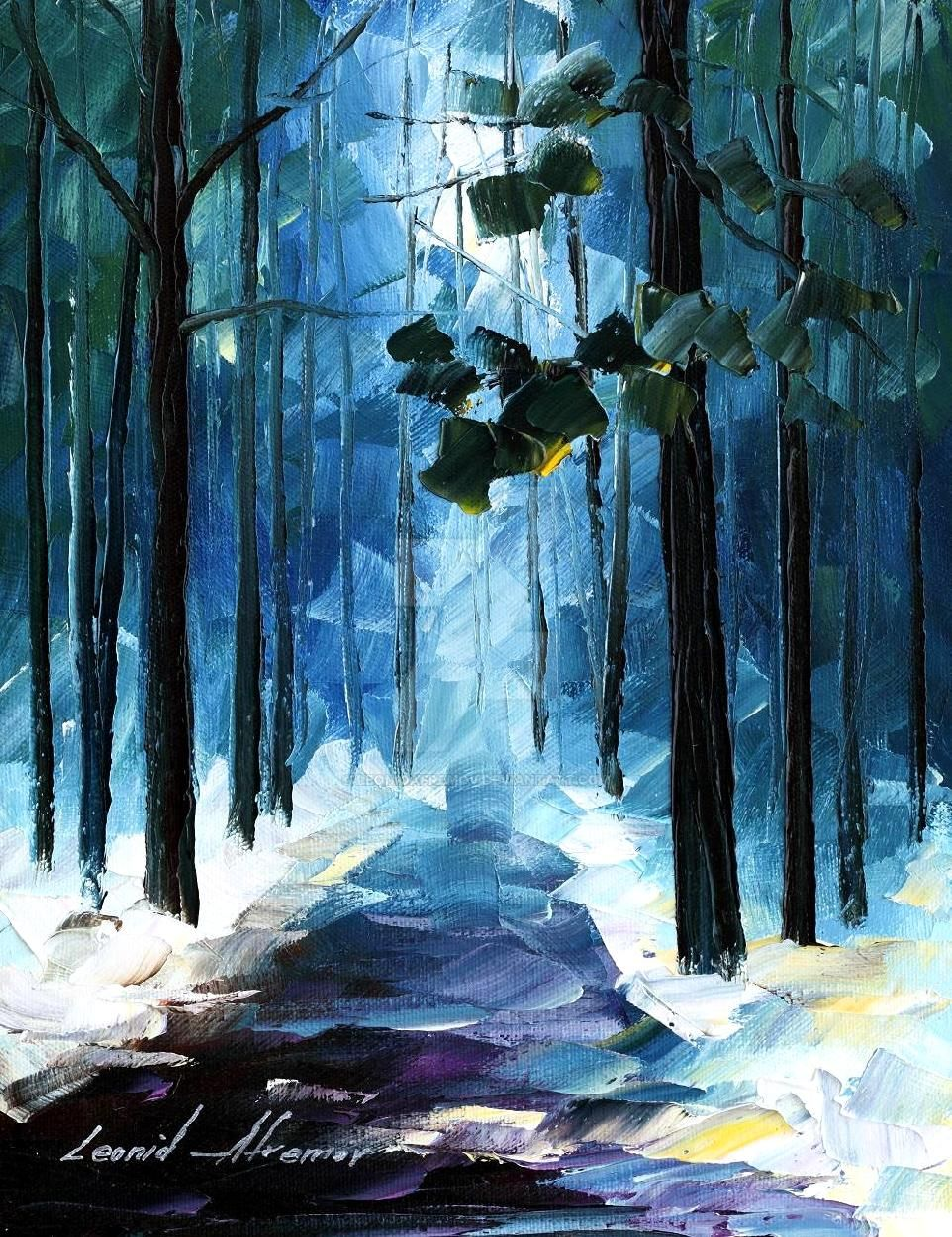 Winter Forest by Leonid Afremov by Leonidafremov