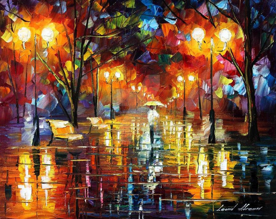 Evening stroll by Leonid Afremov by Leonidafremov