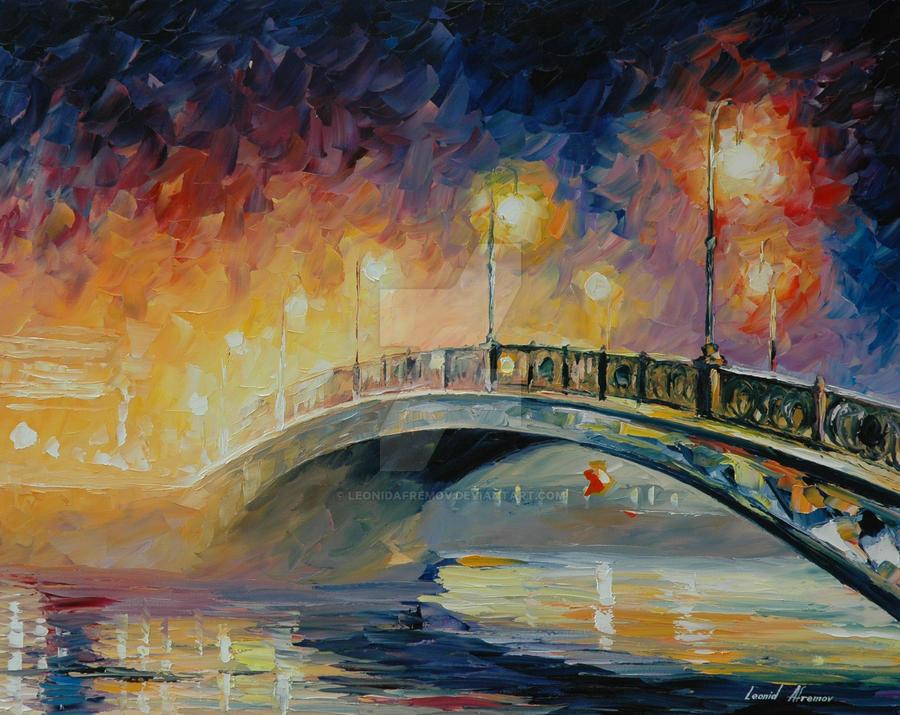 Over the bridge by Leonid Afremov by Leonidafremov