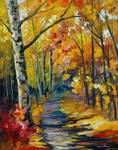 Birch forest by Leonid Afremov