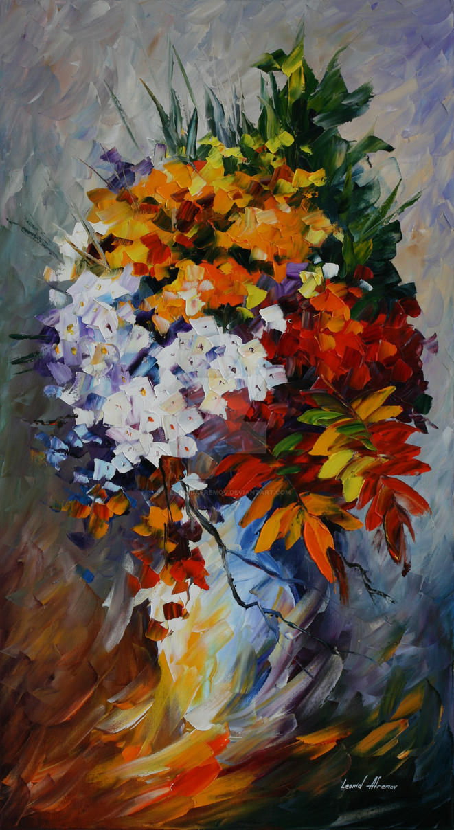 Winter bouquet by Leonid Afremov by Leonidafremov
