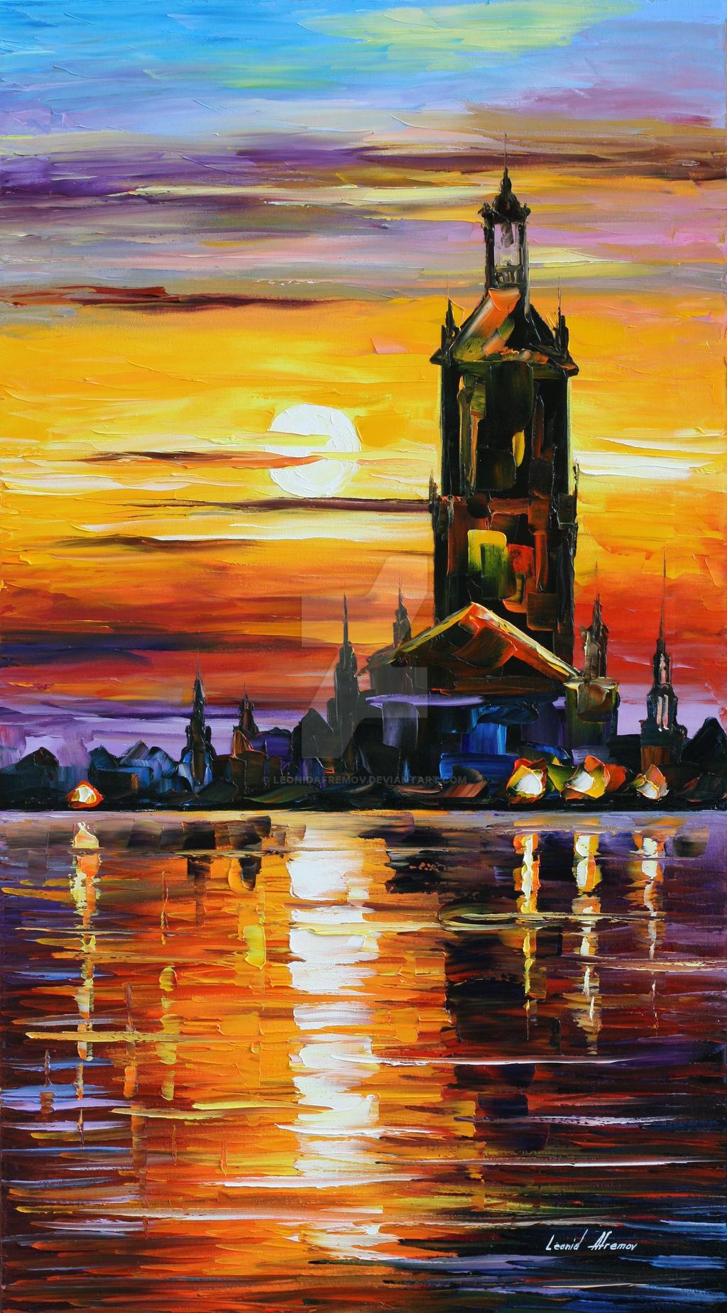 Old tower by Leonid Afremov by Leonidafremov