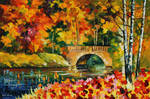 Fall bridge by Leonid Afremov