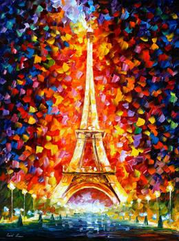 Eiffel Tower Lighted by Leonid Afremov