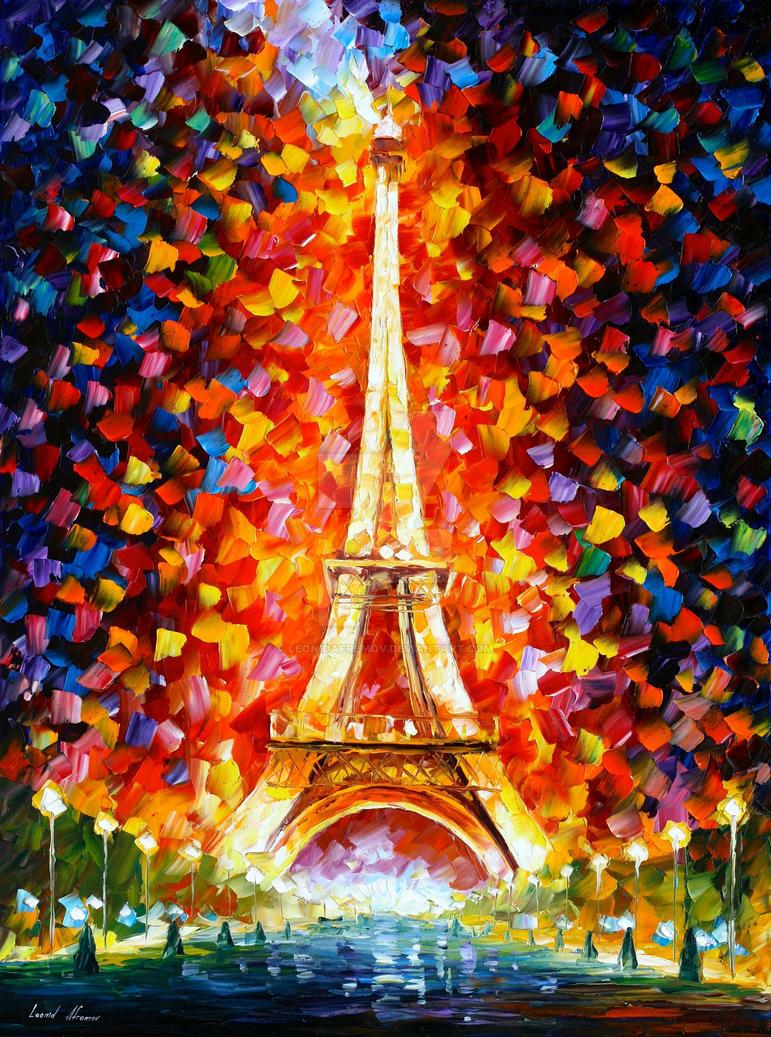 Eiffel Tower Lighted by Leonid Afremov by Leonidafremov