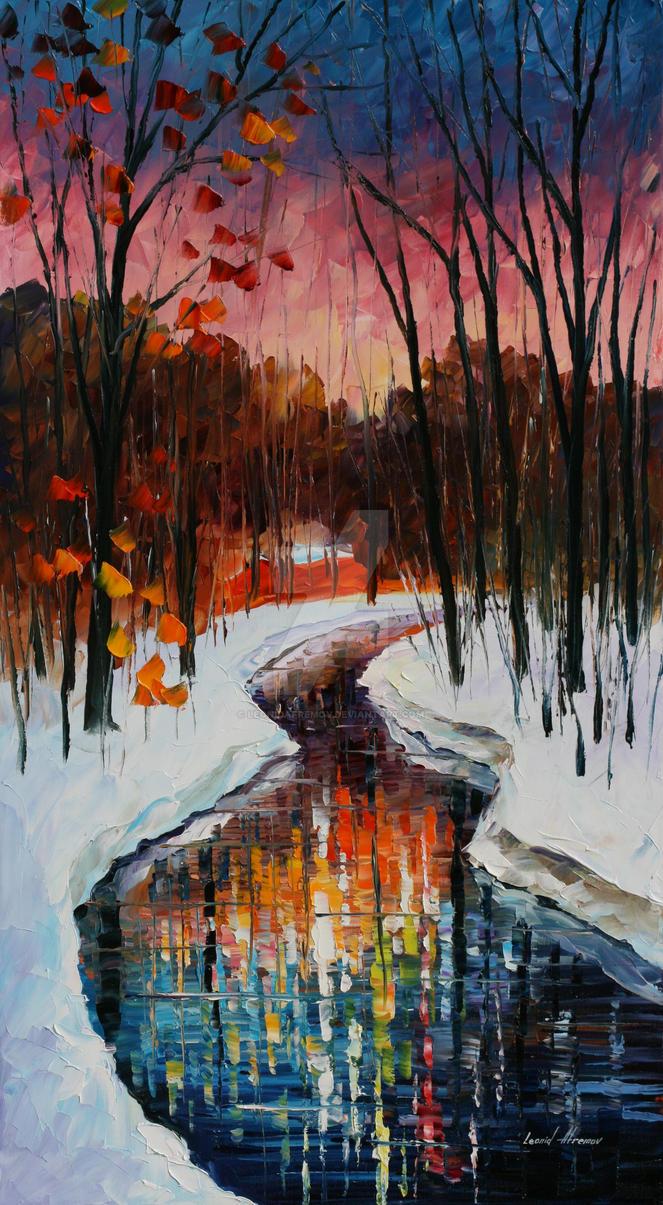 Winter stream by Leonid Afremov by Leonidafremov