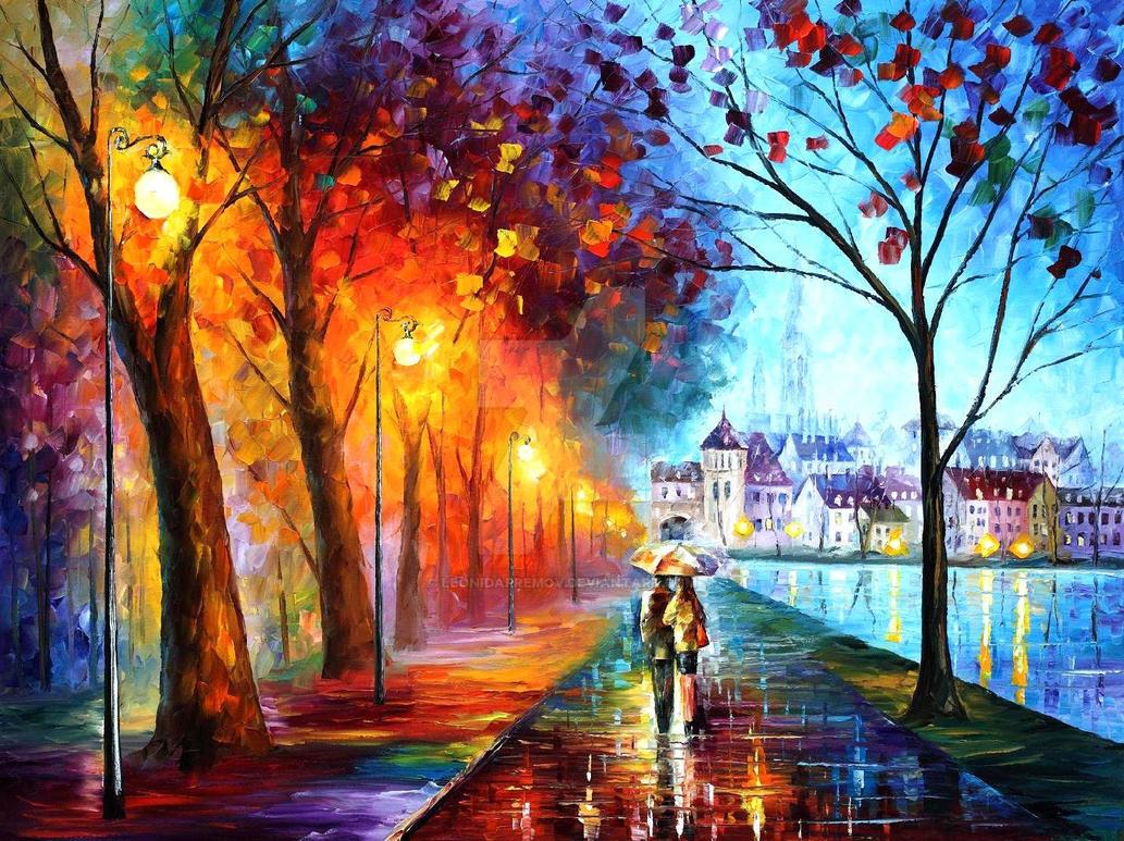 City By The Lake by Leonid Afremov by Leonidafremov