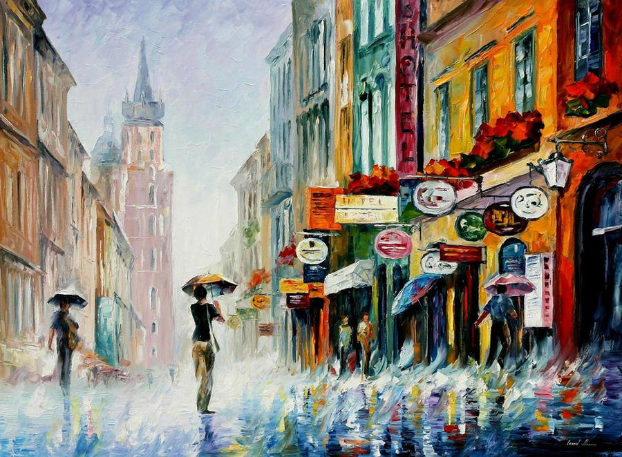 Summer downpour by Leonid Afremov by Leonidafremov